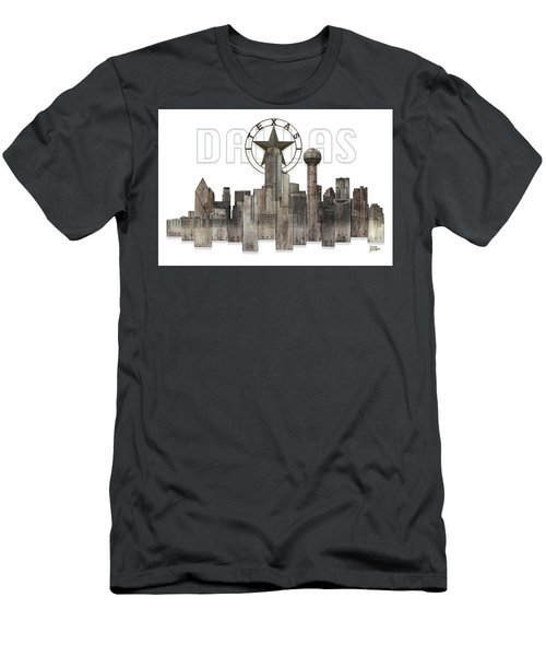 Men's T-Shirt (Slim Fit) featuring the digital art Dallas Texas Skyline by Doug Kreuger