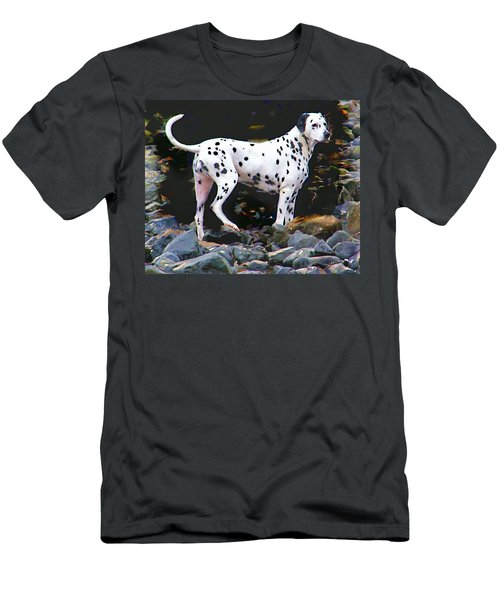 Dalmatian On The Rocks Men's T-Shirt (Athletic Fit)