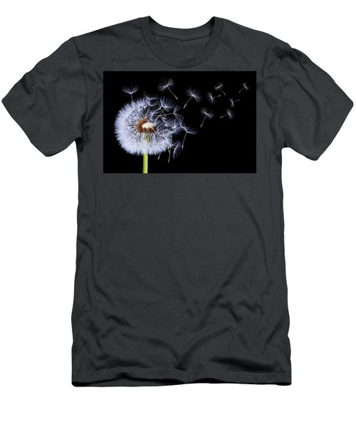 Dandelion Blowing On Black Background Men's T-Shirt (Athletic Fit)