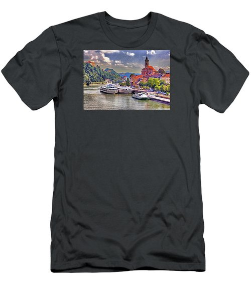 Danube At Passau Men's T-Shirt (Slim Fit) by Dennis Cox WorldViews