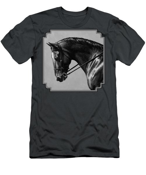 Dark Brown Dressage Horse Black And White Men's T-Shirt (Athletic Fit)