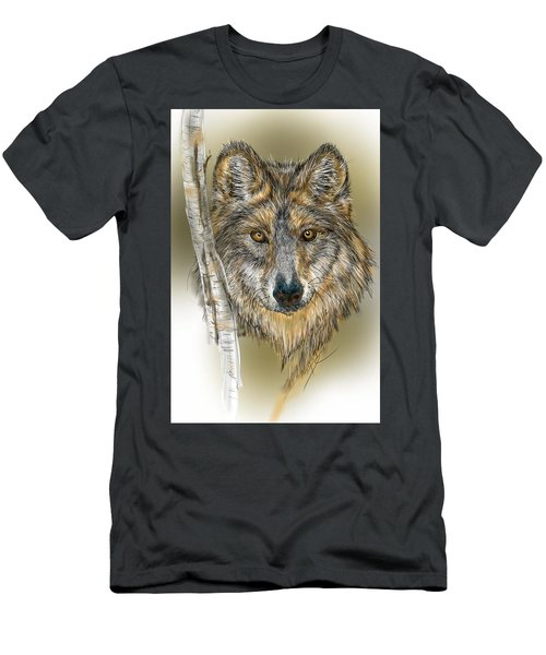 Men's T-Shirt (Athletic Fit) featuring the digital art Dark Wolf With Birch by Darren Cannell