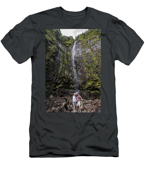 Dave And Elaine At Waimoku Falls Men's T-Shirt (Athletic Fit)
