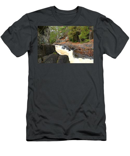 Men's T-Shirt (Slim Fit) featuring the photograph Dave's Falls #7311 by Mark J Seefeldt