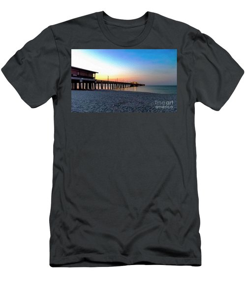 Dawn At Gulf Shores Pier Al Seascape 1283a Digital Painting Men's T-Shirt (Athletic Fit)