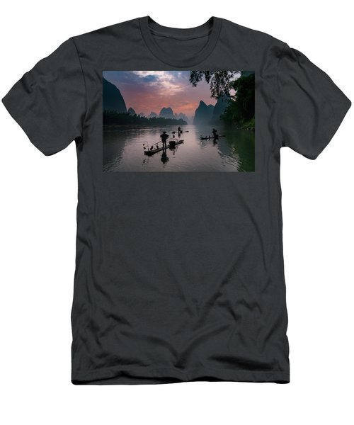 Waiting For Sunrise On Lee River. Men's T-Shirt (Athletic Fit)