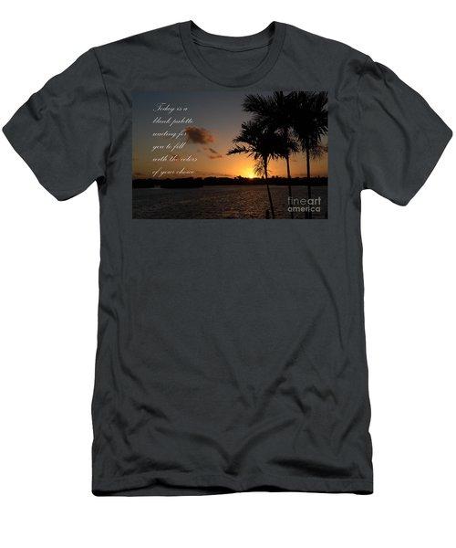 Men's T-Shirt (Slim Fit) featuring the photograph Dawn's Blank Palette by Pamela Blizzard