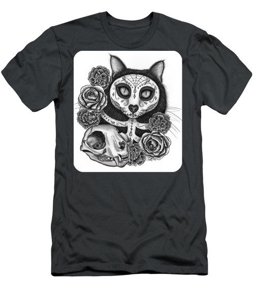 Men's T-Shirt (Athletic Fit) featuring the drawing Day Of The Dead Cat Skull - Sugar Skull Cat by Carrie Hawks
