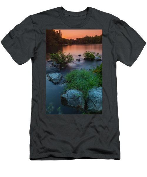 Men's T-Shirt (Athletic Fit) featuring the photograph Daybreak Over The Old Riverbed by Davor Zerjav