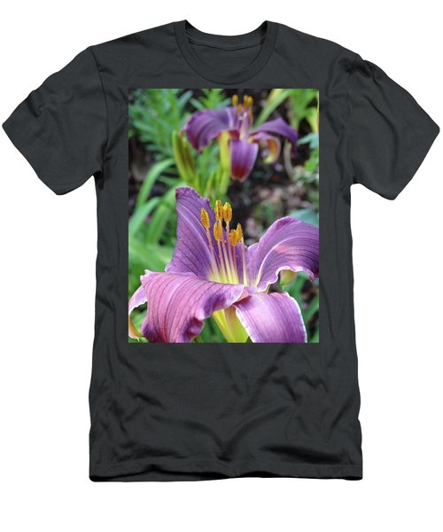 Daylilies In Purple Men's T-Shirt (Slim Fit) by Rebecca Overton