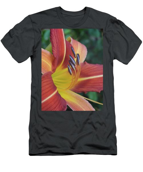 Daylilies Orange Men's T-Shirt (Slim Fit) by Rebecca Overton