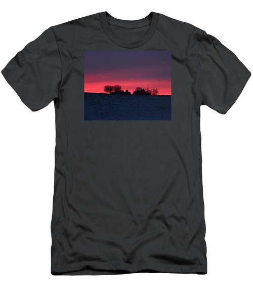 December Farm Sunset Men's T-Shirt (Slim Fit) by Kathy M Krause