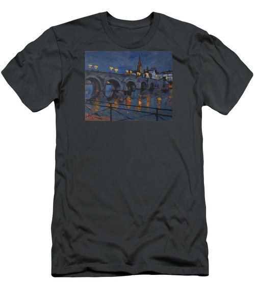 December Lights Old Bridge Maastricht Acryl Men's T-Shirt (Athletic Fit)