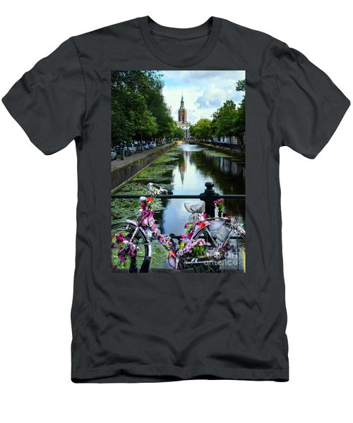 Men's T-Shirt (Slim Fit) featuring the photograph Canal And Decorated Bike In The Hague by RicardMN Photography