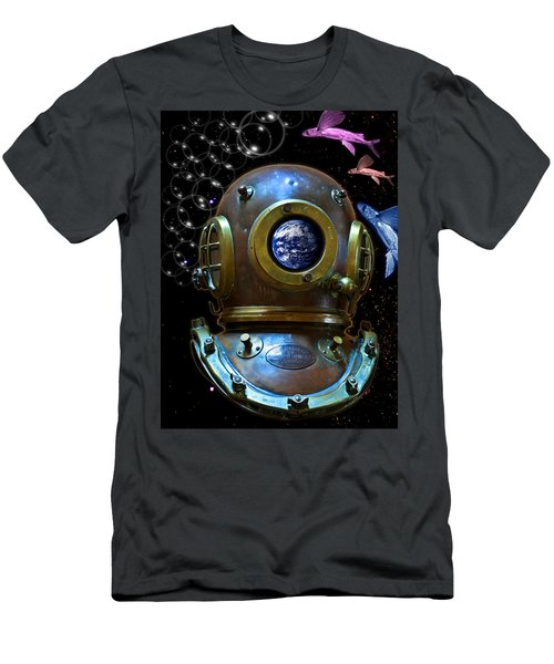 Deep Diver In Delirium Of Blue Dreams Men's T-Shirt (Slim Fit) by Pedro Cardona