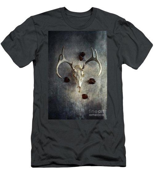 Deer Buck Skull With Fallen Leaves Men's T-Shirt (Slim Fit) by Stephanie Frey