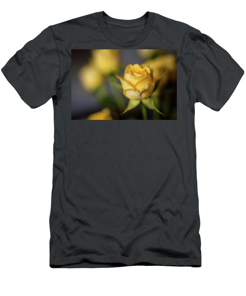Men's T-Shirt (Slim Fit) featuring the photograph Delicate Yellow Rose  by Terry DeLuco