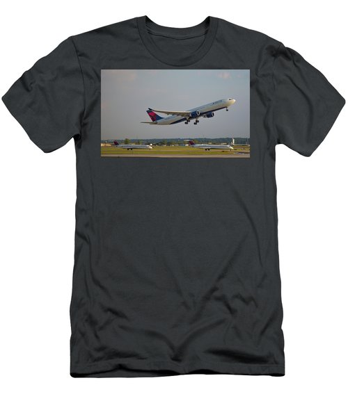 Delta Airlines Jet N827nw Airbus A330-300 Atlanta Airplane Art Men's T-Shirt (Athletic Fit)