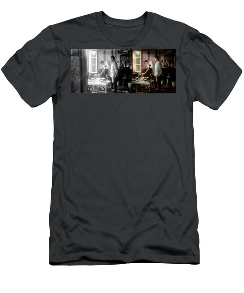 Men's T-Shirt (Slim Fit) featuring the photograph Dentist - The Horrors Of War 1917 - Side By Side by Mike Savad