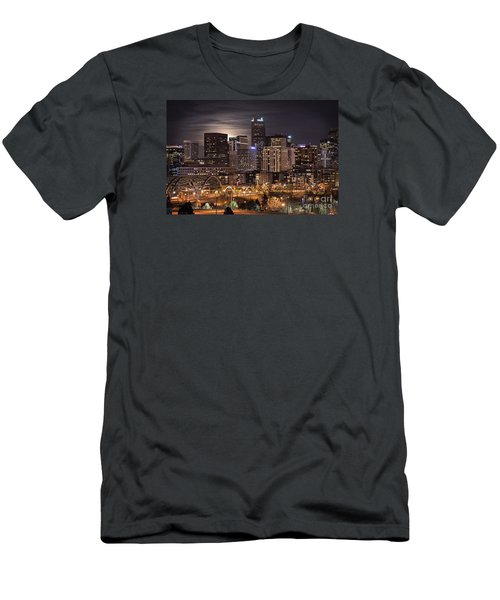 Denver Skyline At Night Men's T-Shirt (Slim Fit) by Juli Scalzi