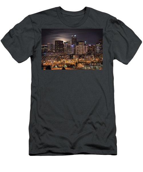 Denver Skyline At Night Men's T-Shirt (Athletic Fit)
