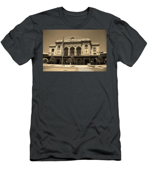 Men's T-Shirt (Slim Fit) featuring the photograph Denver - Union Station Sepia 5 by Frank Romeo
