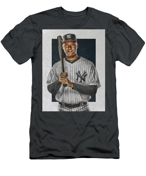 Derek Jeter New York Yankees Art Men's T-Shirt (Slim Fit) by Joe Hamilton