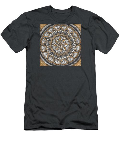 Men's T-Shirt (Slim Fit) featuring the drawing Des Tapestry In Gold-grey-black by Kathy Sheeran
