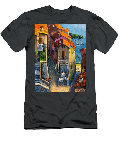 Men's T-Shirt (Slim Fit) featuring the painting Desenzano Del Garda by Mikhail Zarovny