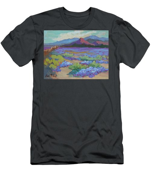 Men's T-Shirt (Slim Fit) featuring the painting Desert In Bloom by Diane McClary