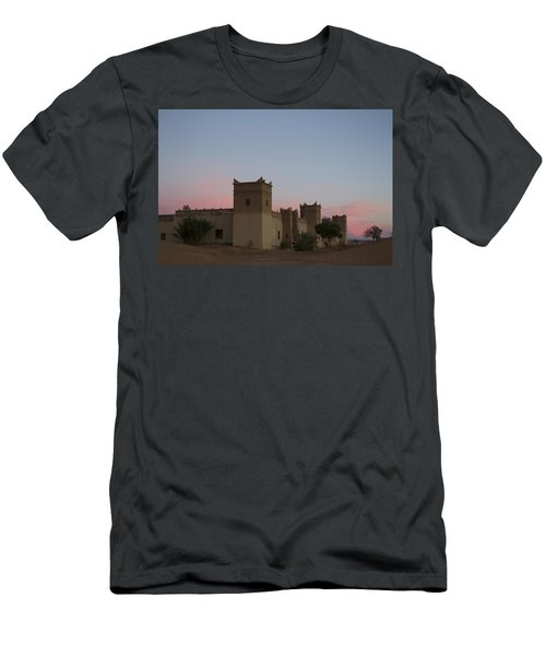 Men's T-Shirt (Slim Fit) featuring the tapestry - textile Desert Kasbah Morocco by Kathy Adams Clark