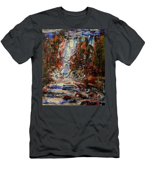 Men's T-Shirt (Athletic Fit) featuring the painting Desert Oasis Waterfall by Reed Novotny