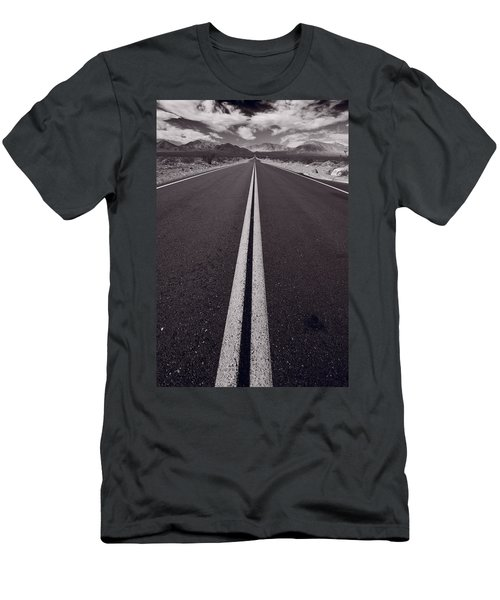 Desert Road Trip B W Men's T-Shirt (Athletic Fit)