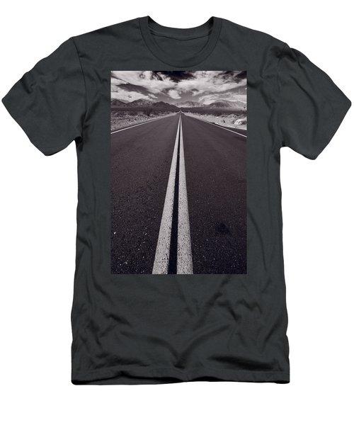 Desert Road Trip B W Men's T-Shirt (Slim Fit) by Steve Gadomski