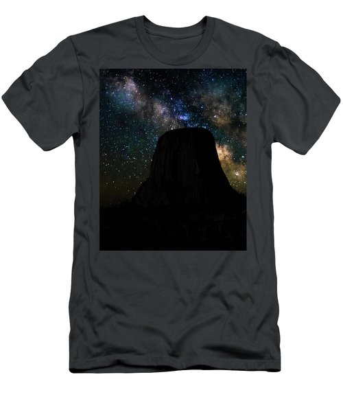 Men's T-Shirt (Athletic Fit) featuring the photograph Devils Tower And Milky Way by Scott Read