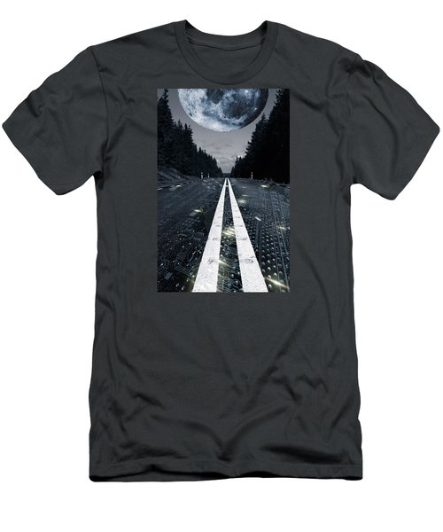 Digital Highway And A Full Moon Men's T-Shirt (Slim Fit) by Christian Lagereek
