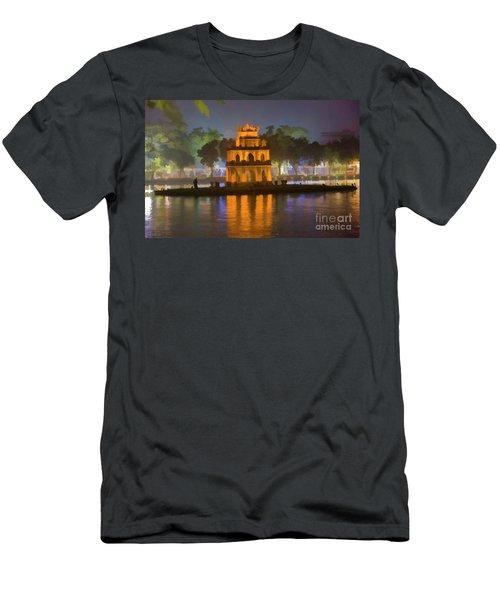 Digital Turtle Tower Paint  Men's T-Shirt (Athletic Fit)