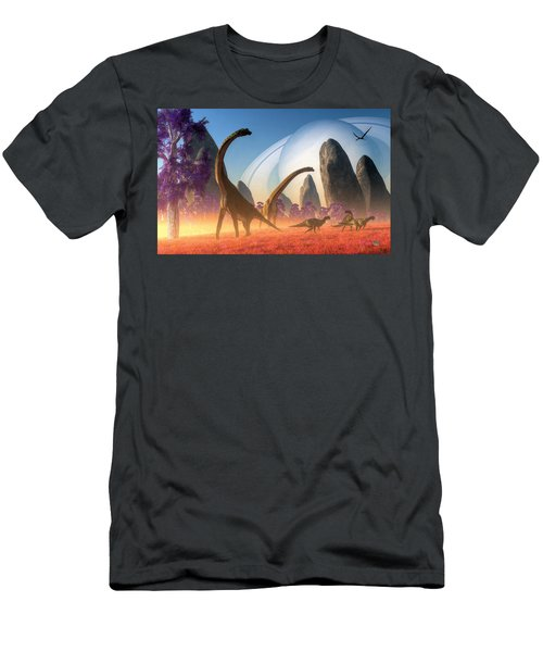 Dinosaur Moon Men's T-Shirt (Athletic Fit)