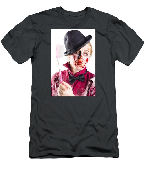 Men's T-Shirt (Athletic Fit) featuring the photograph Diseased Woman With Big Toothbrush by Jorgo Photography - Wall Art Gallery