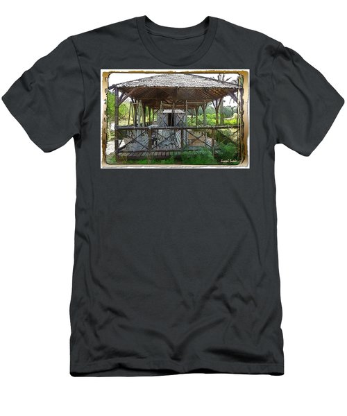 Men's T-Shirt (Athletic Fit) featuring the photograph Do-00341 Cabin Outdoor Bois Des Pins by Digital Oil