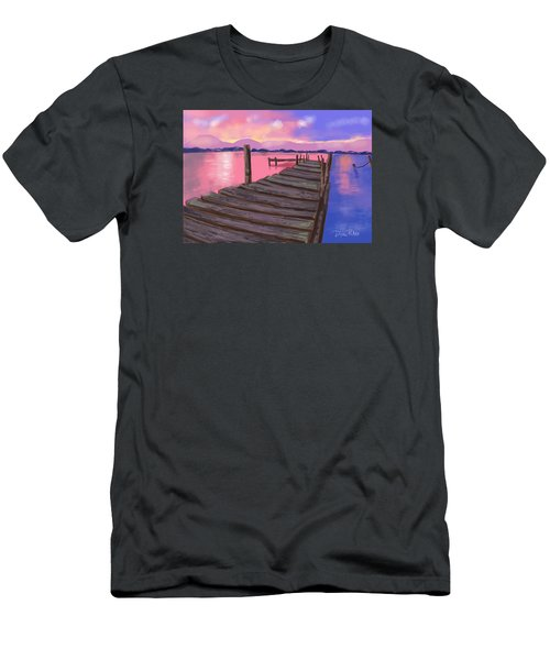 Dock At Sunset Men's T-Shirt (Slim Fit) by Diana Riukas
