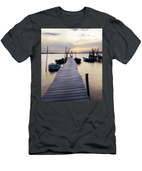 Dock At Sunset Men's T-Shirt (Slim Fit) by Marion McCristall