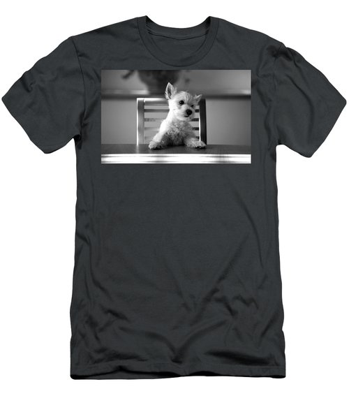 Dog Sitting On The Table Men's T-Shirt (Slim Fit) by Sumit Mehndiratta