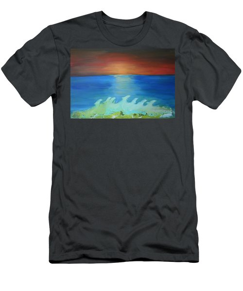 Dolphin Waves Men's T-Shirt (Athletic Fit)