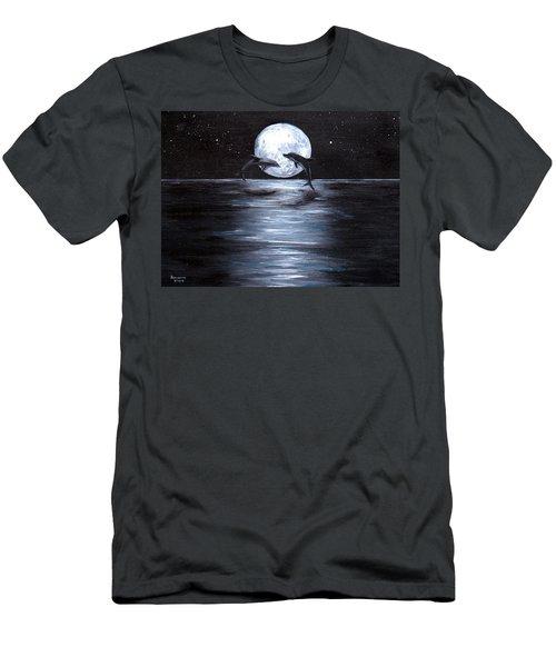 Dolphins Dancing Full Moon Men's T-Shirt (Slim Fit) by Bernadette Krupa