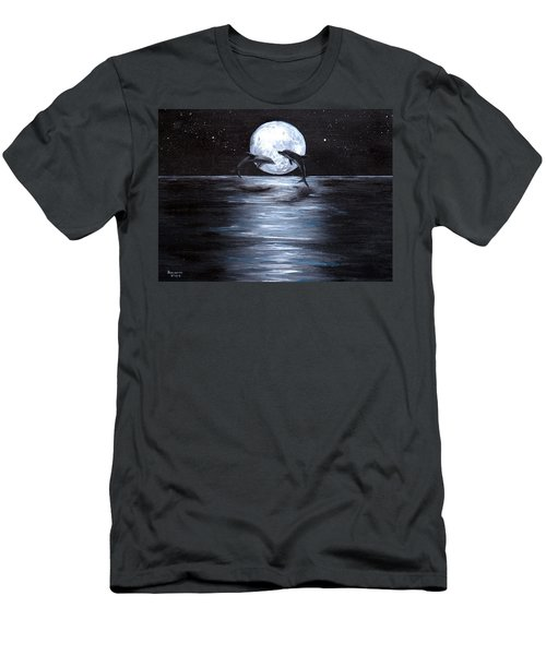 Dolphins Dancing Full Moon Men's T-Shirt (Athletic Fit)