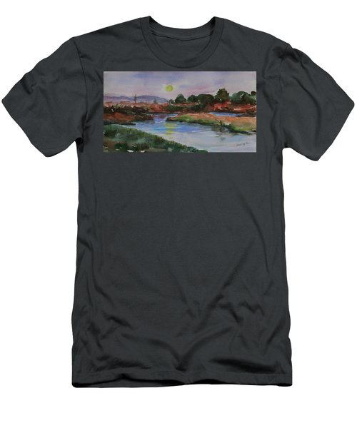 Men's T-Shirt (Athletic Fit) featuring the painting Don Edwards San Francisco Bay National Wildlife Refuge Landscape 1 by Xueling Zou