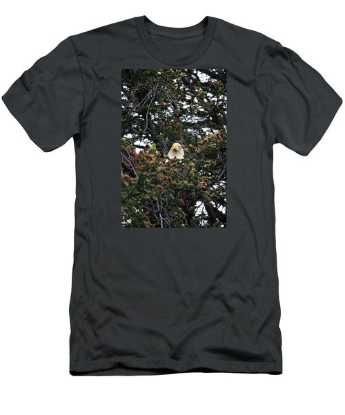 Men's T-Shirt (Slim Fit) featuring the photograph Don't Let Him Fool You He Might Be Blinking But He's Still Watching Me by Dacia Doroff