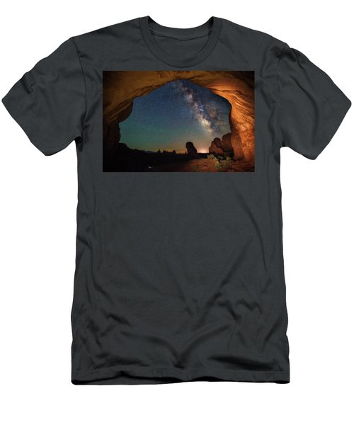 Double Arch Milky Way Views Men's T-Shirt (Slim Fit) by Darren White
