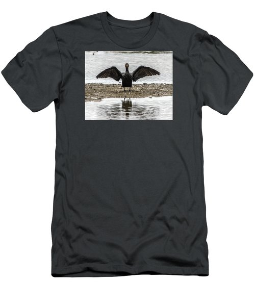 Double Crested Cormorant Portrait Flapping Wings Men's T-Shirt (Athletic Fit)